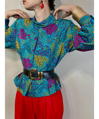 Virgt-ciug animal pattern turquoise blue shirt-1531-11