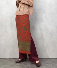 SANCTSILK red long skirt-435-7