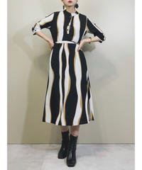 Wave design band collar modern dress-1876-5