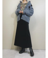 Dull color volume design mohair knit cardigan-1604-1