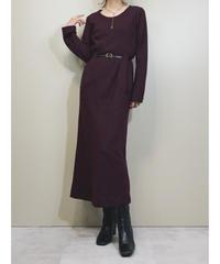 Burgundy color elegant long dress-1634-1