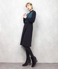 Blue plaid pattern wool dress-875-2