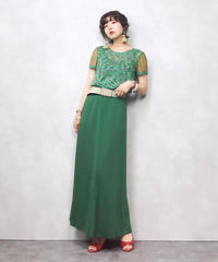 SEQUENCE green see through sleeve summer knit-343