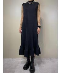 Bell design black pleats long dress-2247-10