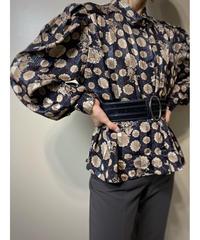 Classic flower puff sleeve shirt-2235-10