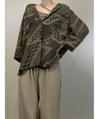 Traditional design brown color sheer shirt-2018-7