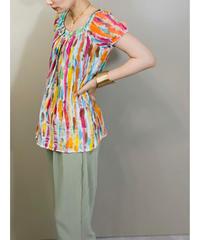 Colorful paint pattern cotton tops-1955-6