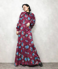 Blue flower wine red maxi dress-762-12