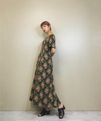 Flower design retro import dress-1162-6