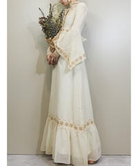 Lace flare sleeve vintage  maxi dress-1704-2