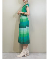 nutmeg green gradation color rétro dress-1921-5