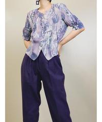 TISANE leaf pattern purple shirt -1271-7