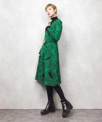 GREEN vneck rétro dress-824-1