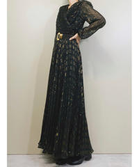 LVIS ESTEVEZ pleats design black maxi dress-1729-3