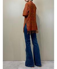 Orange jacquard fabric  import fringe tops-2190-9