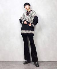 Embroidery neck import tyrol knit-706-11