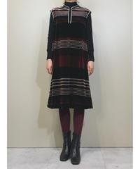 LOOK stripes design rétro velours dress-1550-11