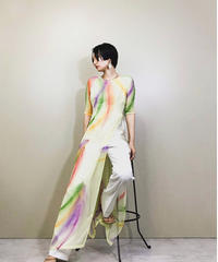 Colorful feather yellow see-through dress-1132-5
