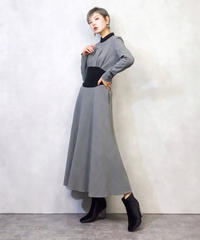 MADE IN FRANCE gray flare dress-879-2