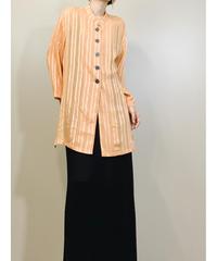 Femimag stripe design  see-through long shirt-1430-10