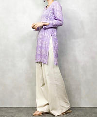 Light purple embroidery pattern tunic-1064-4
