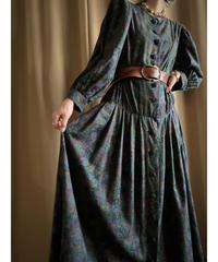 Puff sleeve  design deep color vintage dress-2181-9