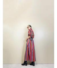 Neon color stripe import maxi dress-1806-4