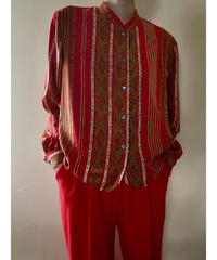 cantique bright red exotic design shirt-2074-8