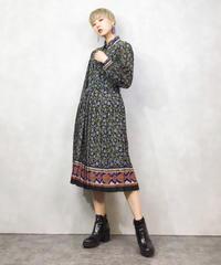 Elegant blue flower pattern  dress-1026-4