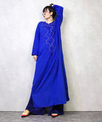 H.W BRSY embroidery blue dress-898-2