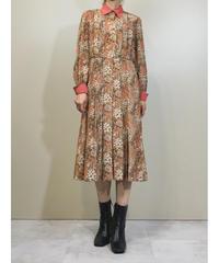 Warm color flower pleats rétro dress-1434-10
