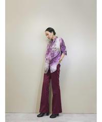 Mottled pattern tiered sleeve purple shirt-1397-9