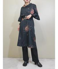 Roll neck frill sleeves import dress-1656-2