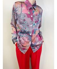 A-Rvam-A rétro flower pink sheer shirt-1939-6