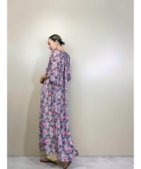 Timonne pleats design flower sheer dress-1909-5