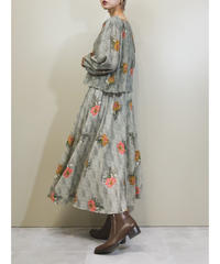 MADE IN U.S.A. pleated design flower dress-1752-3