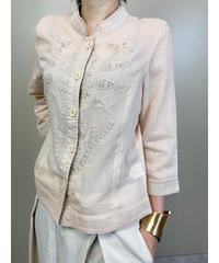 Bead embroidery pink beige shirt-1750-3