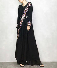 BLACK floral embroidery long dress-1090-4