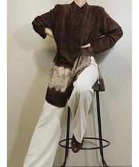 CHRISTIAN AUJARD brown pile fabric shirt-1618-1