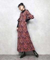 Jacquard fabric vintage long dress-751-12
