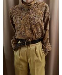 SAGA MORE paisley design roll collar tops-2076-7