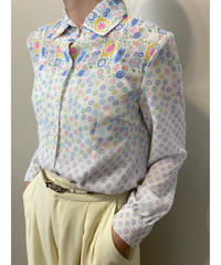 Broaeur KONO rétro flower white shirt-2028-7