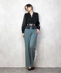 HARDY AMIES black v-neck shirt-990-3