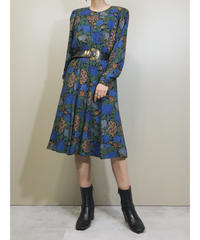 High-tone attire blue floral dress-1700-2