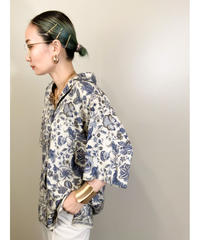 MADE IN ITALY I BLUES exotic flower silk shirt-1959-6