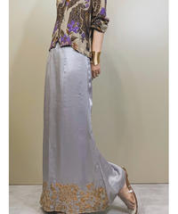 Gold beads embroidery silver skirt-1223-6