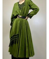 Jacquard fabric grass green vintage stall set dress-2113-8