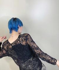 Black swirl design lace cardigan-1949-6