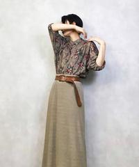 Glitter stripe flower stand collar shirt-980-3