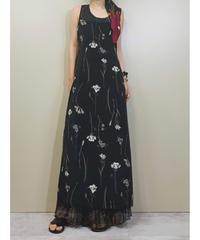 Melissa Kay flower black long dress-1260-7